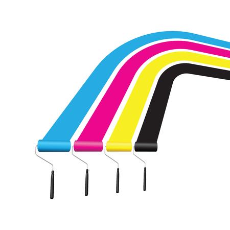 cmyk printing roller Illustration