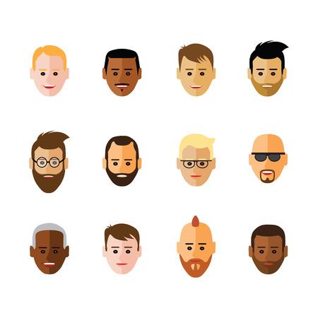 communication icons: Icon of faces  on white background. Illustration