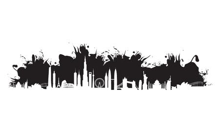 sydney skyline: black cityscape splash