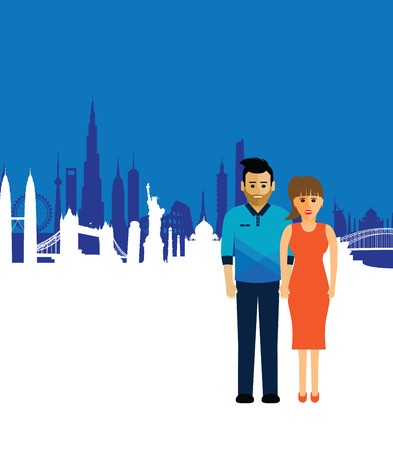 london tower bridge: couple on a cityscape background