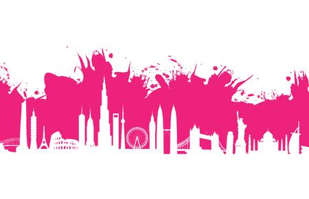 sydney skyline: pink cityscape splash