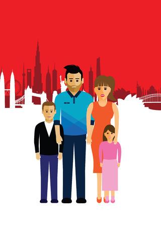 sydney skyline: family on a cityscape background