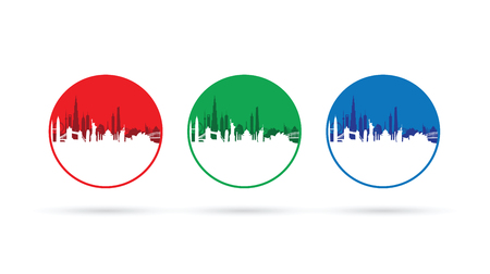 city building: set of three cityscapes Illustration