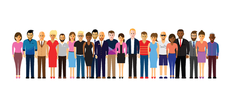 business people: people in a line