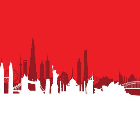 sydney skyline: Red cityscape background.