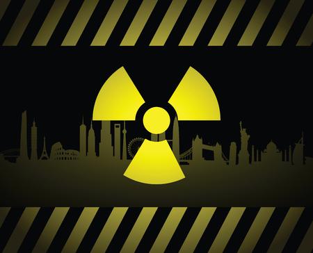 Signe de paysage urbain radioactif Vecteurs