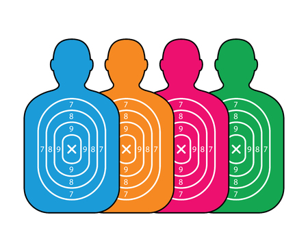 gun holes: group of men paper targets Illustration