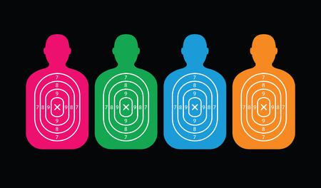 gun holes: A group of men paper targets.