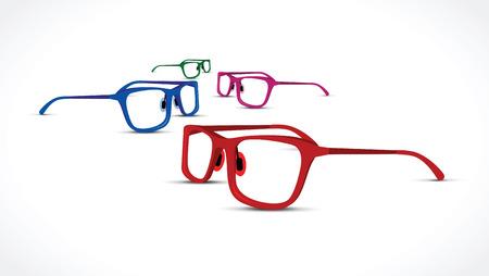shortsighted: A glasses set on white background.