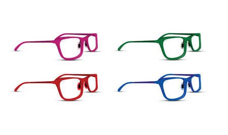 shortsighted: A glasses set on white background