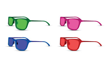 A colored glasses set on white background. Illustration