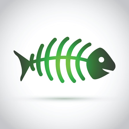 fishbone: A green dead fish on gray background. Illustration