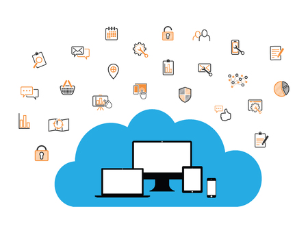 cloud enabled equipment with internet business icons