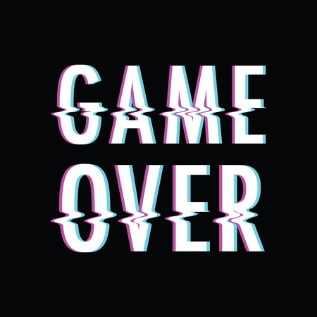 Game over glitch concept vector Vettoriali