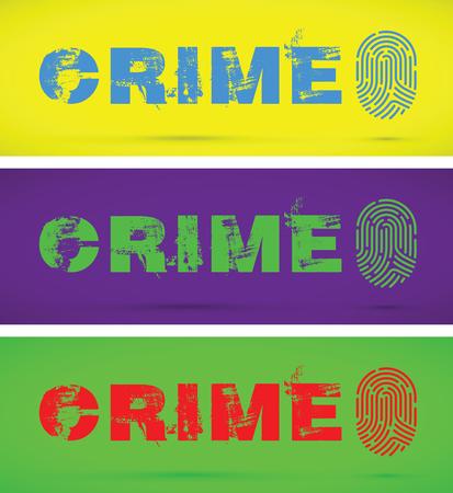 Ensemble de trois empreintes digitales de prévention du crime dans un fond de couleur différente. Illustration