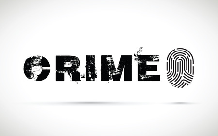 Crime prevention concept illustration with fingerprint