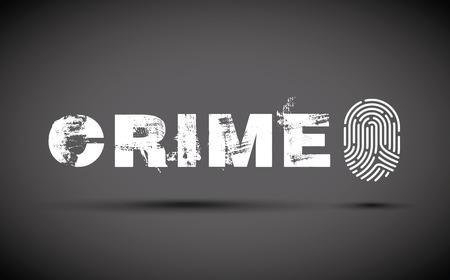 Crime prevention concept illustration with fingerprint on black background. Illustration