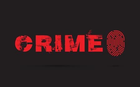 Crime prevention concept illustration with fingerprint on black background Illustration