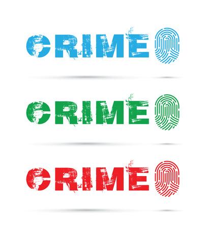 Set of crime fingerprint on white background