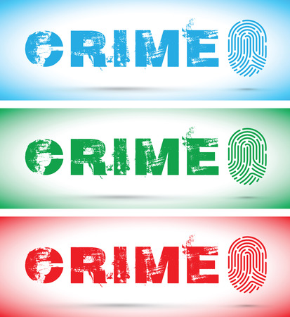 Set of crime fingerprint illustration.