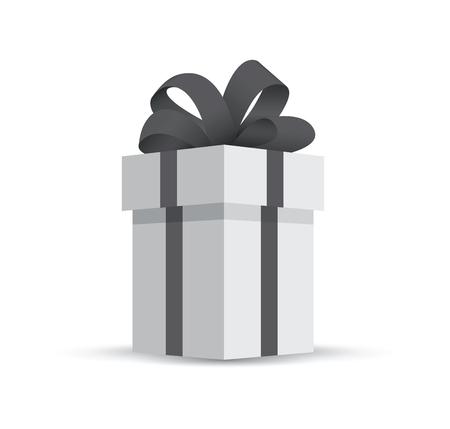Grey gift box isolated on white background.