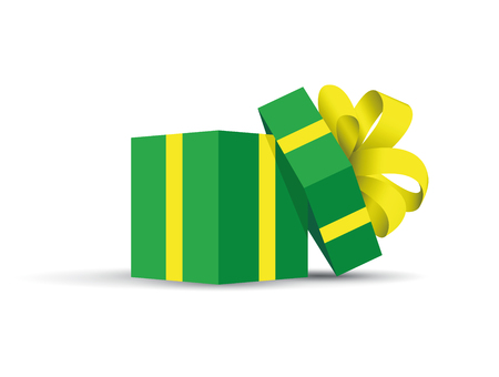 Green opened present, Green box with a yellow ribbon on cover
