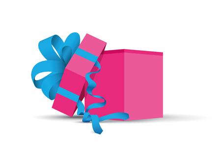 Pink opened present. Illustration