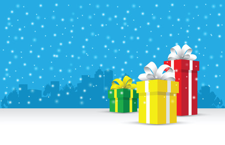 Presents on a snowy background