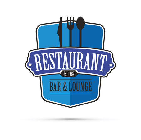 Blue restaurant design vector concept.