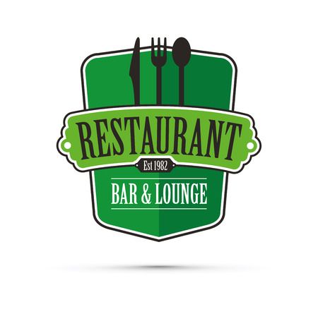 Green restaurant design vector concept.