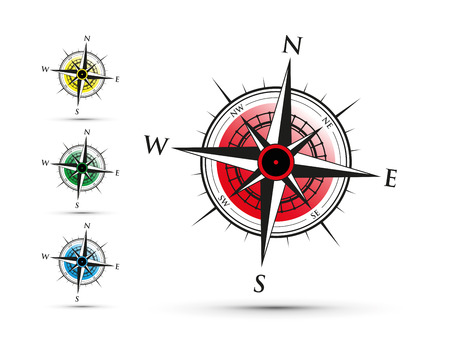 red compass illustration. Illustration