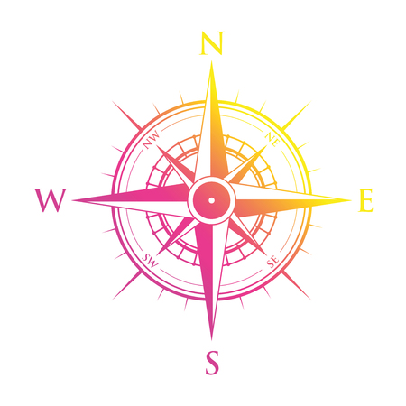 Pink and yellow compass