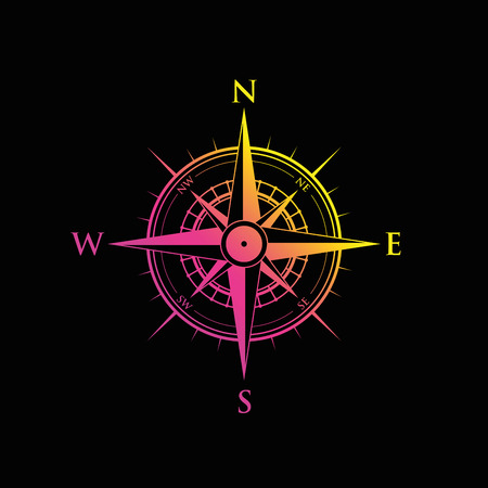 pink and yellow compass over black background