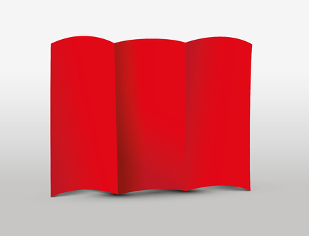 Red tri-fold leaflet illustration on light background.