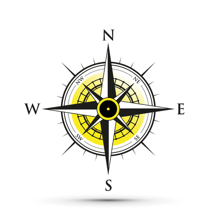 Yellow compass icon illustration on white background. Stock Illustratie