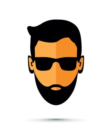 Beard man with sunglasses icon illustration on white background.