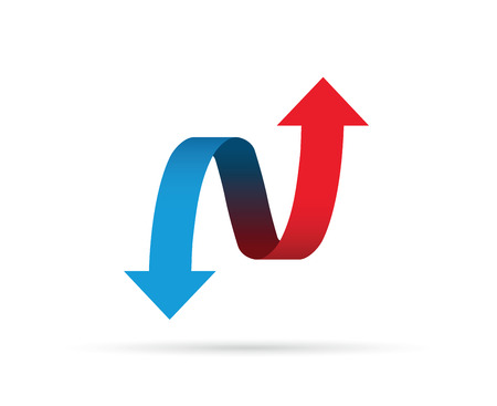 Red and blue arrows icon illustration on white background.