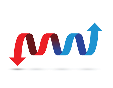 red and blue arrows icon illustration on white background. Ilustração