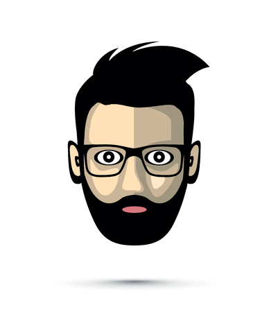 Bearded man with sunglasses icon illustration on white background.