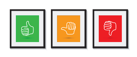 Thumbs up and down in picture frames Vectores