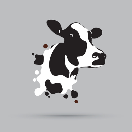 Abstract cow head illustration on gray background. Çizim