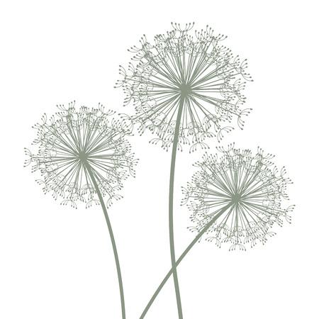 set of three dandelions Stock Illustratie