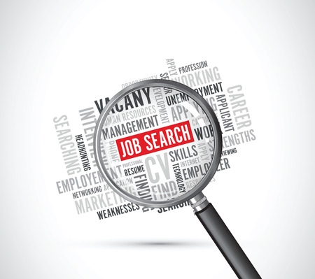 job search background text magnifying glass Çizim