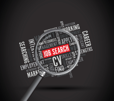 job search background text magnifying glass Stok Fotoğraf - 105339000