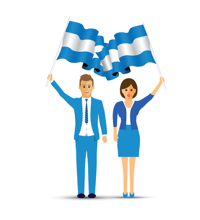 man and woman waving Argentina flags