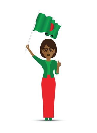 Bangladeshi woman waving a flag