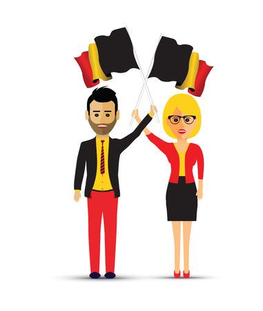 man and woman waving Belgium flags