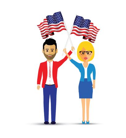 couple waving usa flags