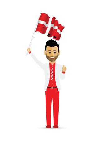 Drapeau du Danemark, agitant l'homme Vecteurs