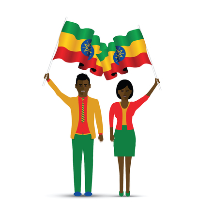 Ethiopia flag waving man and woman Illustration